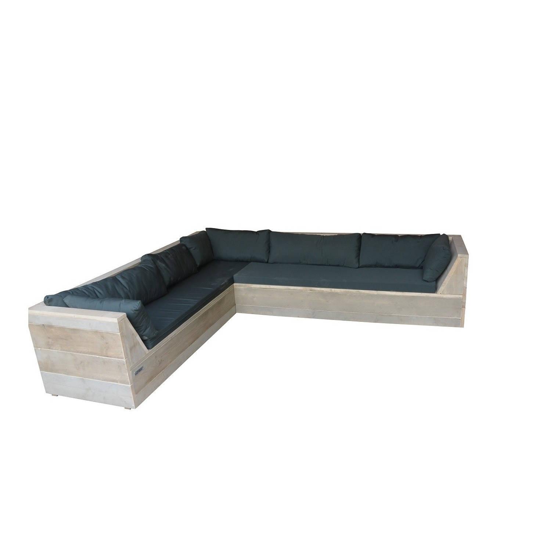 Wood4you - Loungeset 6 Steigerhout 240x200 Cm - L-vorm Incl. Plofkussens