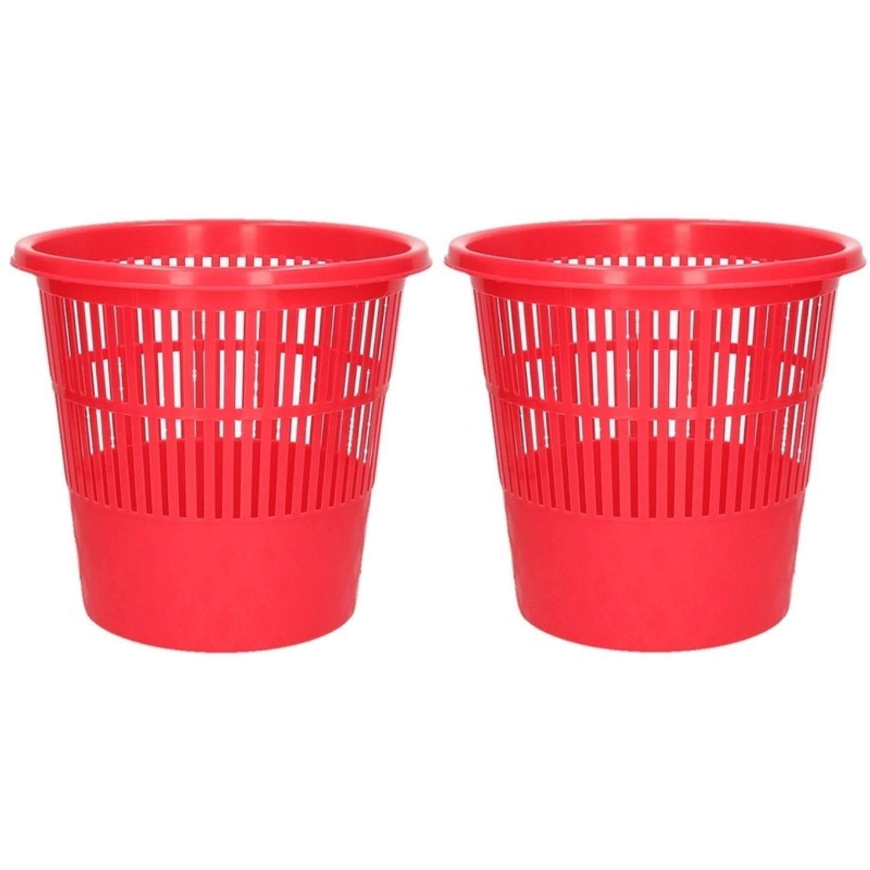2x Rode Vuilnisbakken/prullenbakken 20 Liter - Voordelige Huishoud Prullenbakken/vuilnisbakken/afval