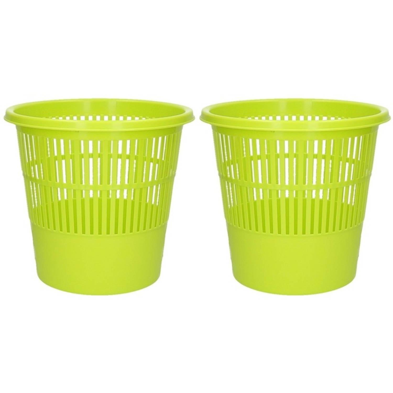 2x Groene Vuilnisbakken/prullenbakken 20 Liter - Voordelige Huishoud Prullenbakken/vuilnisbakken/afv