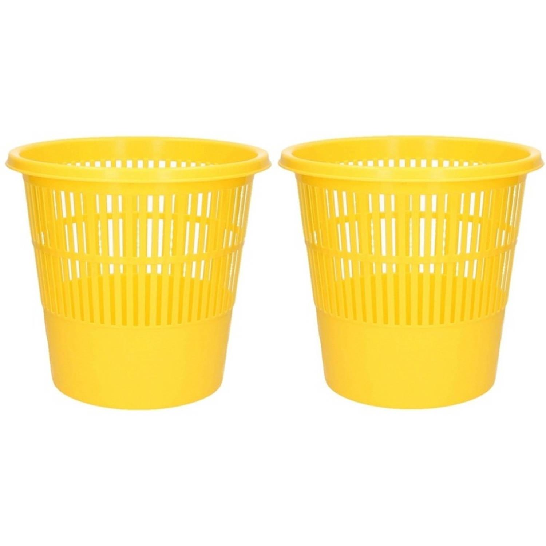 2x Gele Vuilnisbakken/prullenbakken 20 Liter - Voordelige Huishoud Prullenbakken/vuilnisbakken/afval