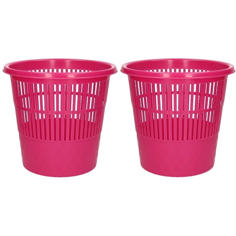 2x Roze Vuilnisbakken/prullenbakken 20 Liter - Voordelige Huishoud Prullenbakken/vuilnisbakken/afval