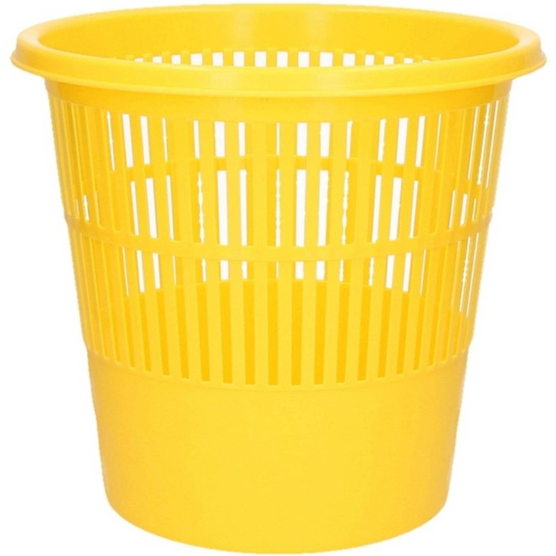 Gele Vuilnisbak/prullenbak 20 Liter - Voordelige Huishoud Prullenbakken/vuilnisbakken/afvalbakken