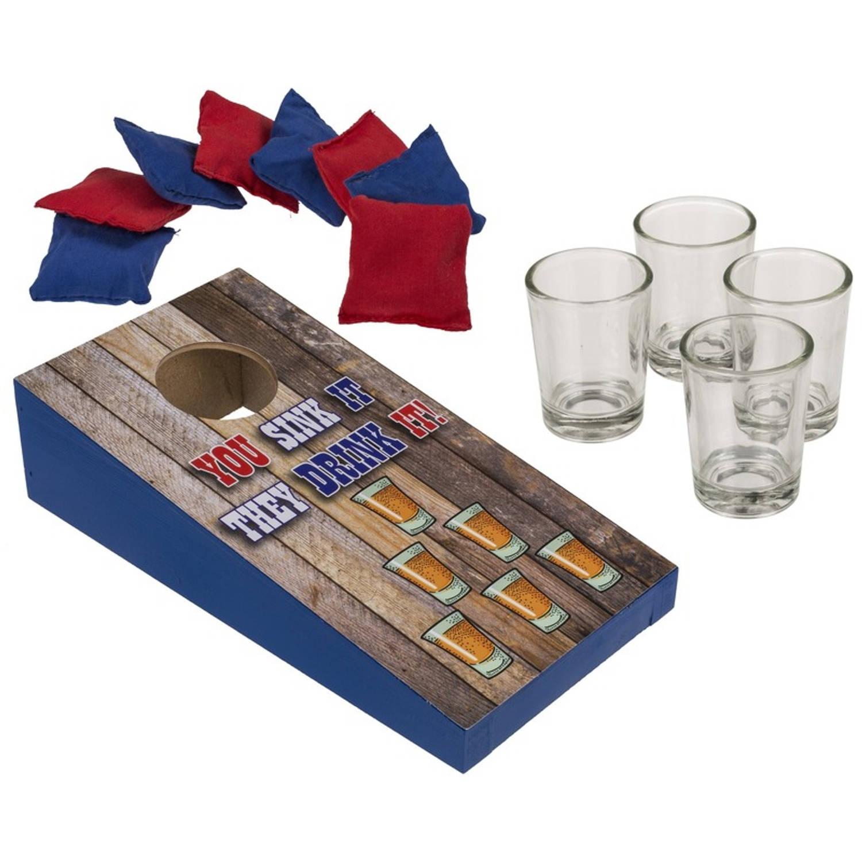 Drankspel Pittenzak Gooien Shotspel Met 4 Shotglaasjes Shotjes Drink-drankspellen Studentenspellen
