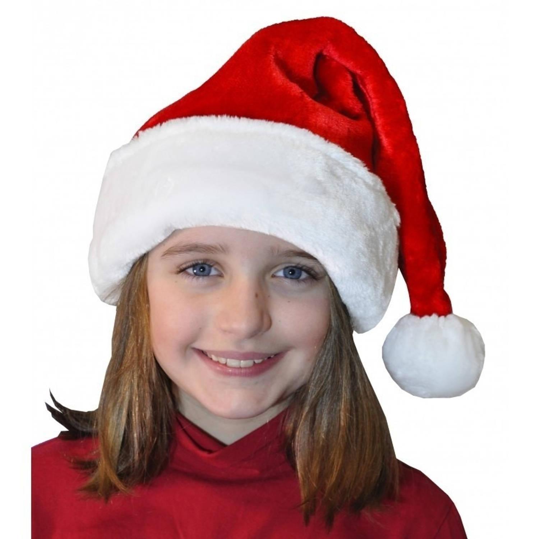 Korting Pluche Luxe Kerstmuts Rood wit Voor Kinderen Kerstmutsen