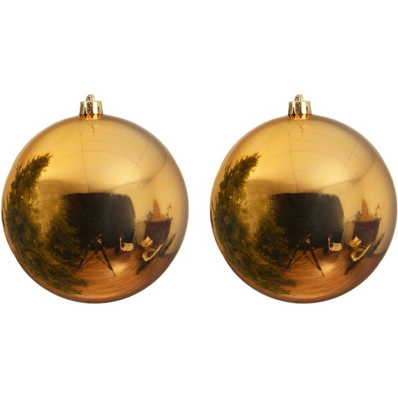2x Grote gouden kunststof kerstballen van 20 cm glans gouden kerstboom versiering