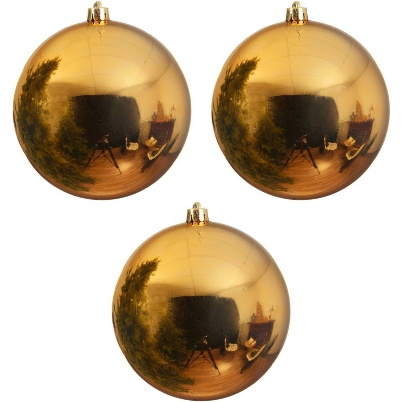3x Grote gouden kunststof kerstballen van 20 cm glans gouden kerstboom versiering