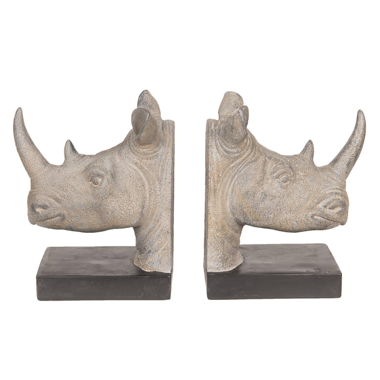 Clayre & Eef Boekensteun (2) neushoorn 33x16x20 cm