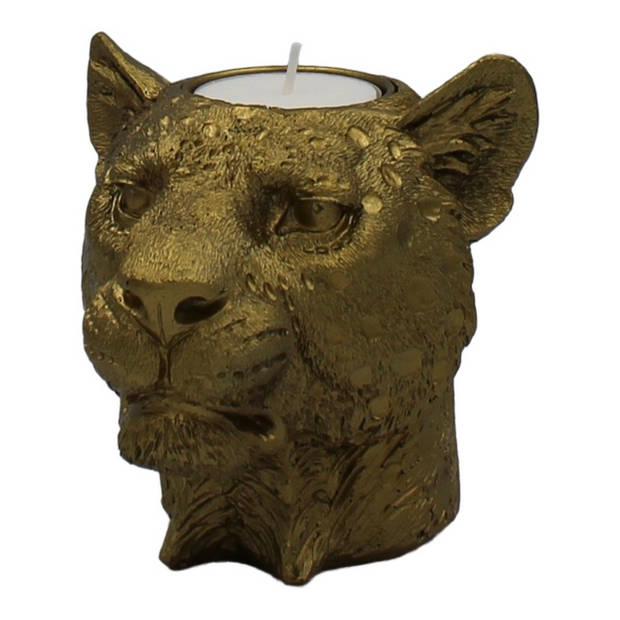 Housevitamin kaarshouder / kandelaar 'leeuwenkop' goud polyserin 11cm hoog
