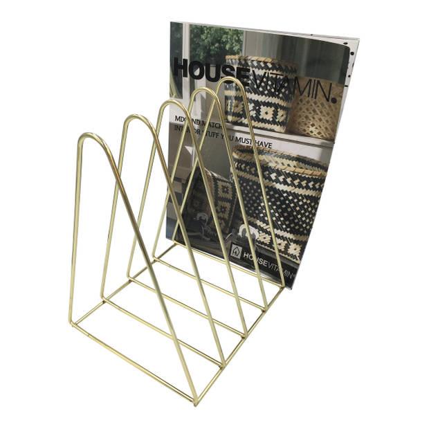 Housevitamin boekenhouder / tijdschriftenrek - magazine houder metaal goud