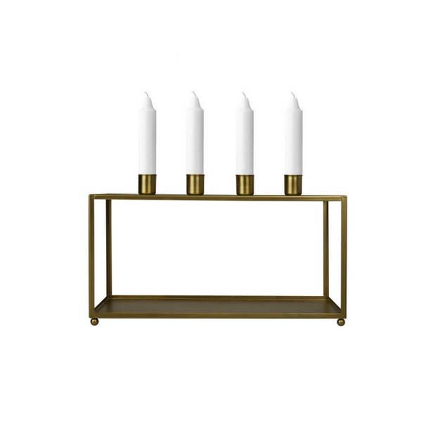 Housevitamin kandelaar / kaarsenstandaard 31x16 cm - metaal - 4 kaarsen - goud
