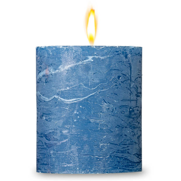 Blokker rustieke cilinderkaars - donkerblauw - 7x8 cm
