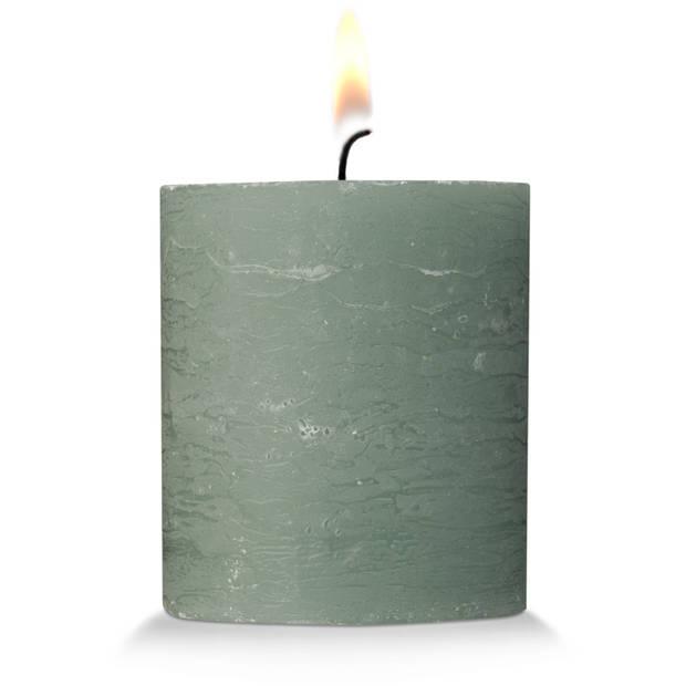 Blokker rustieke cilinderkaars - kiezelgroen - 7x8 cm