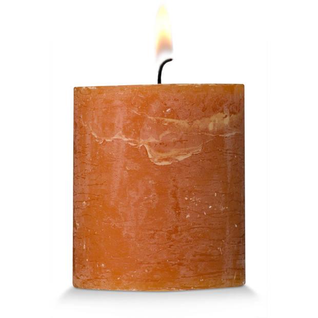 Blokker rustieke cilinderkaars - cognac - 7x8 cm