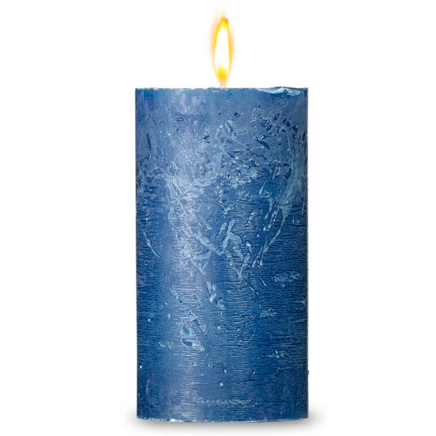 Blokker rustieke cilinderkaars - donkerblauw - 7x13 cm