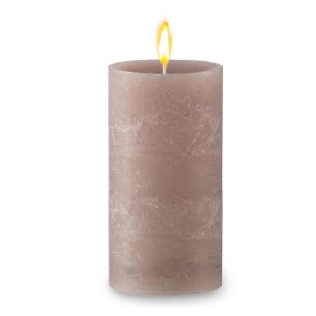 Blokker rustieke cilinderkaars - beige - 7x13 cm
