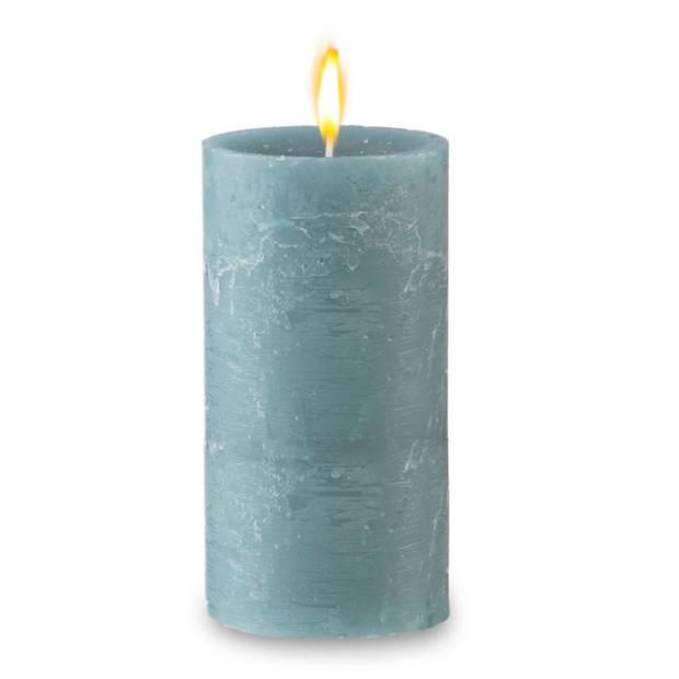 Blokker rustieke cilinderkaars - zeegroen - 7x13 cm