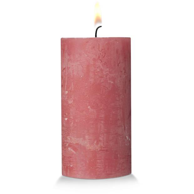 Blokker rustieke cilinderkaars - roze - 7x13 cm