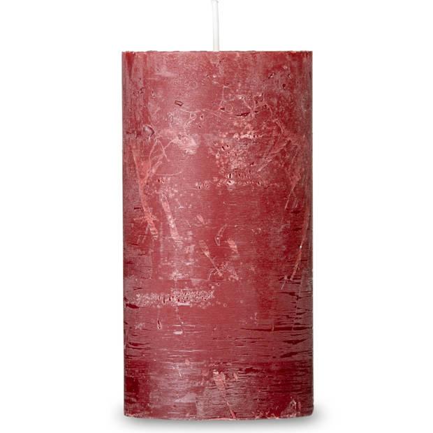 Blokker rustieke cilinderkaars - rood - 7x13 cm