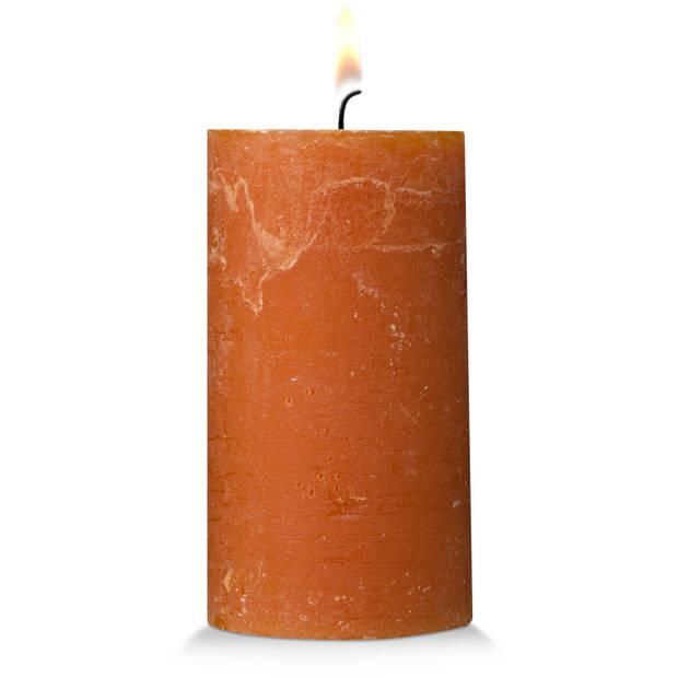 Blokker rustieke cilinderkaars - cognac - 7x13 cm