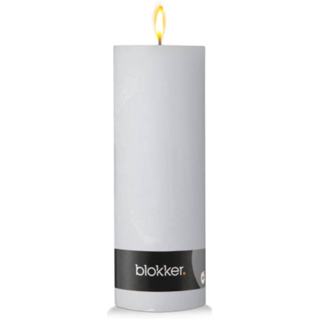 Blokker rustieke cilinderkaars - wit - 7x19 cm