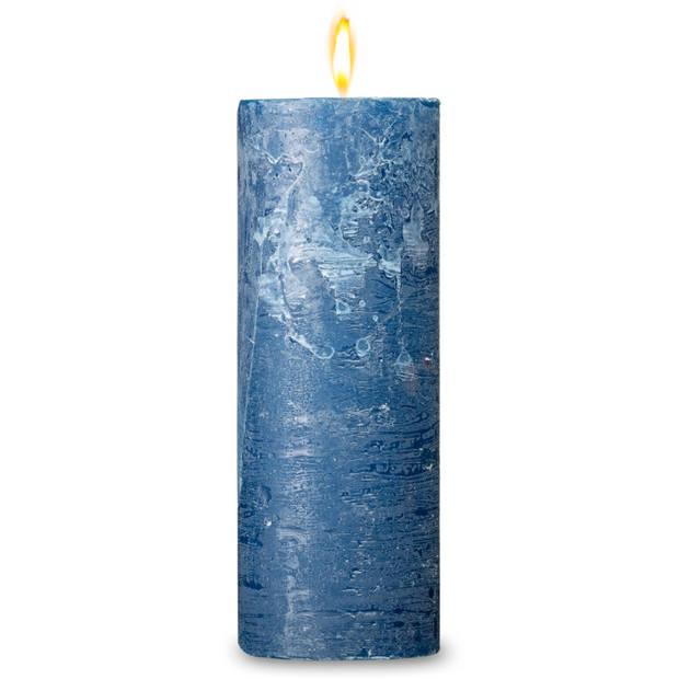 Blokker rustieke cilinderkaars - donkerblauw - 7x19 cm