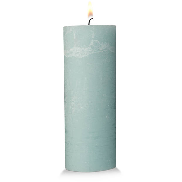 Blokker rustieke cilinderkaars - mintgroen - 7x19 cm
