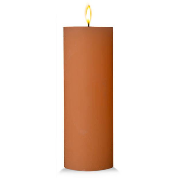Blokker rustieke cilinderkaars - cognac - 7x19 cm