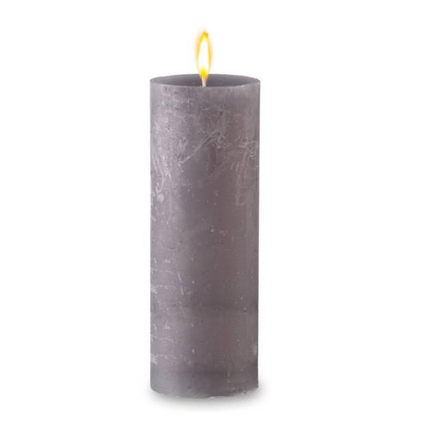 Blokker rustieke cilinderkaars - grijs - 7x19 cm