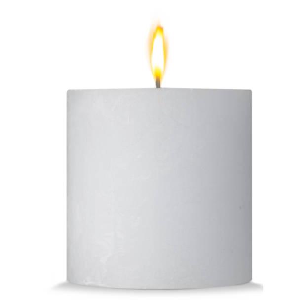Blokker rustieke cilinderkaars - wit - 10x10 cm