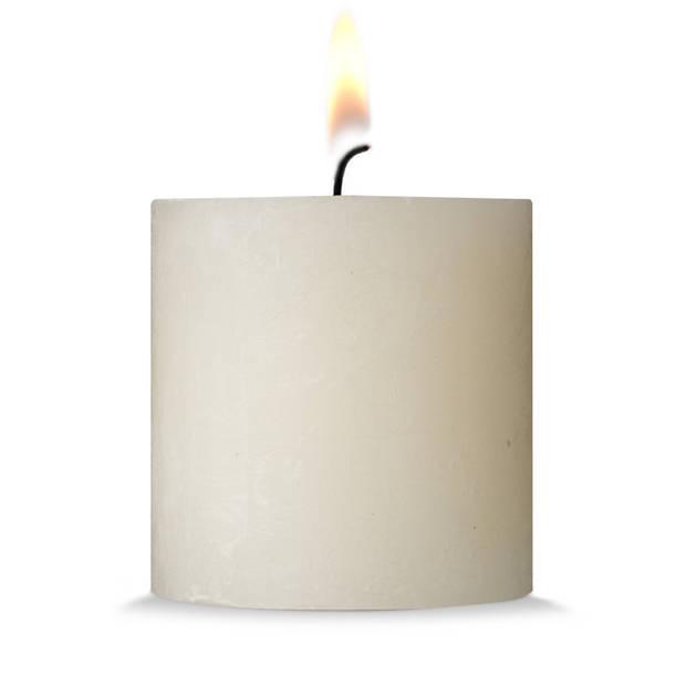 Blokker rustieke cilinderkaars - crème - 10x10 cm