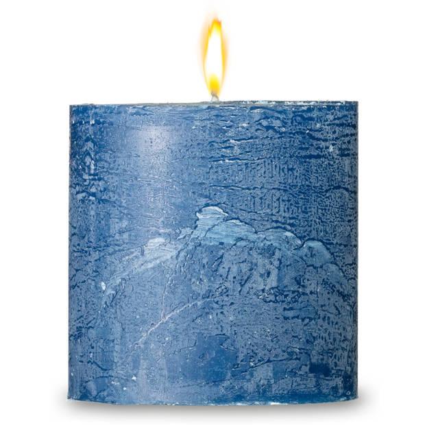 Blokker rustieke cilinderkaars - donkerblauw - 10x10 cm
