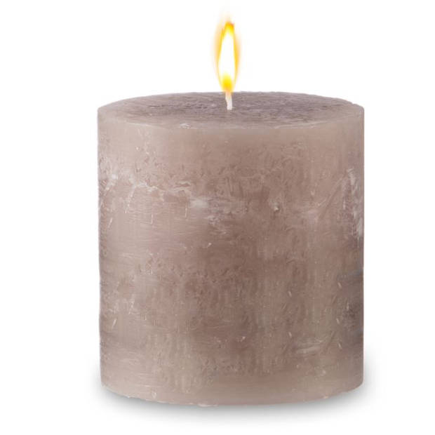 Blokker rustieke cilinderkaars - beige - 10x10 cm