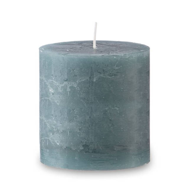 Blokker rustieke cilinderkaars - zeegroen - 10x10 cm