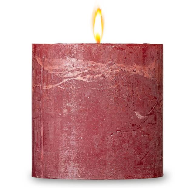 Blokker rustieke cilinderkaars - rood - 10x10 cm