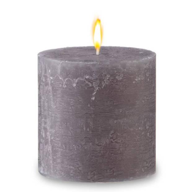 Blokker rustieke cilinderkaars - grijs - 10x10 cm