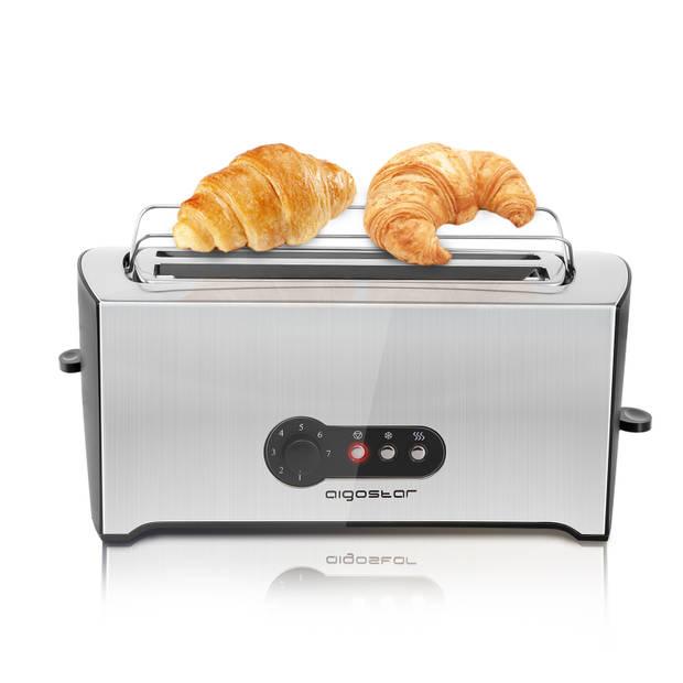 Aigostar Sunshine 30KDG - Broodrooster - RVS - 2 lange sleuven voor 4 toasts