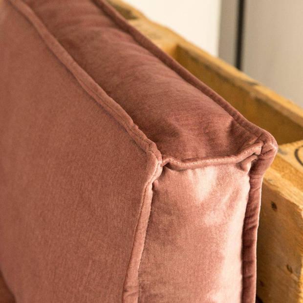2L Home & Garden Palletkussen Velvet Oud Roze - 120 x 40cm