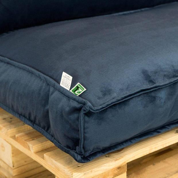 2L Home & Garden Palletkussen Velvet Donkerblauw - 120 x 40cm