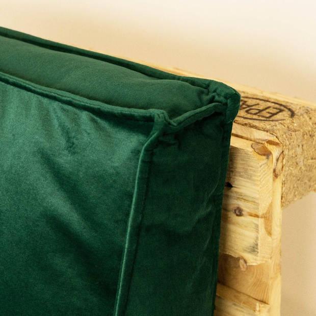 2L Home & Garden Palletkussen Velvet Donkergroen - 120 x 40cm