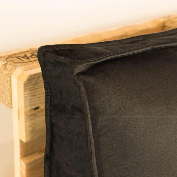 2L Home & Garden Palletkussen Velvet Bruin/ Grijs - 120 x 40cm