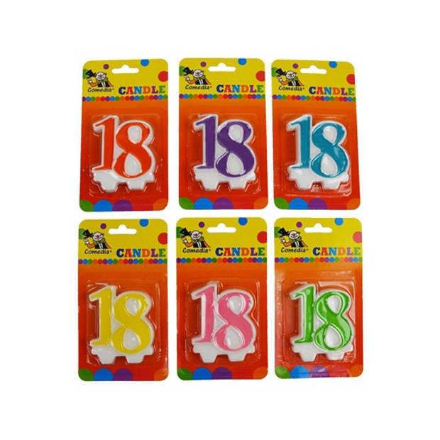 Cijferkaars 18 jaar geel - Taartkaarsen