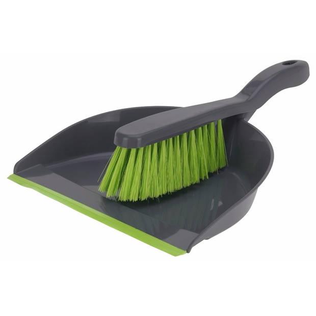 Voordelige stoffer en blik grijs/groen - Huishoudelijke producten