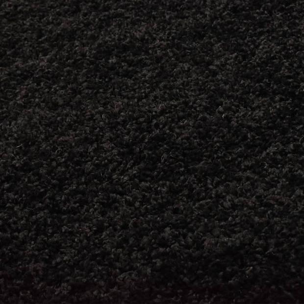 vidaXL Vloerkleed shaggy hoogpolig 160 cm zwart