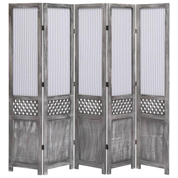 vidaXL Kamerscherm met 5 panelen 175x165 cm stof grijs