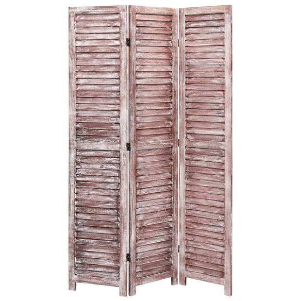 vidaXL Kamerscherm met 3 panelen 105x165 cm hout bruin