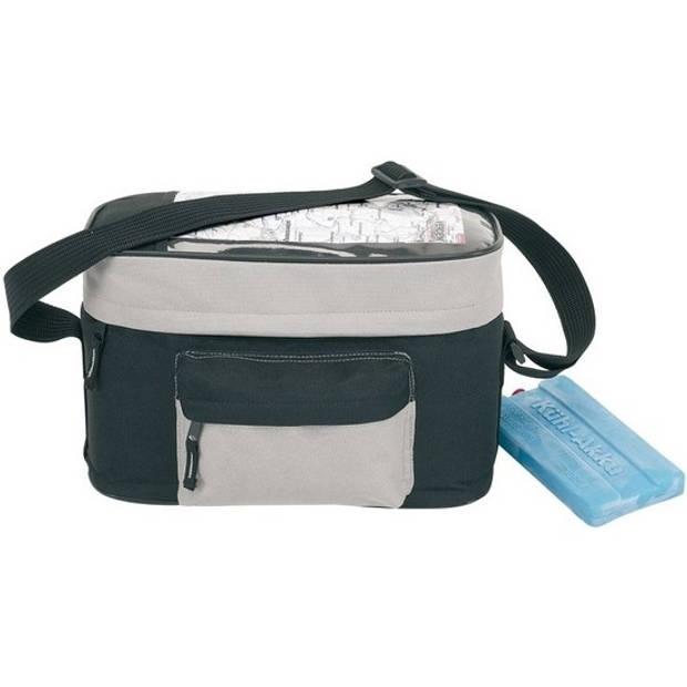 Fiets koeltas zwart/grijs 8 liter - Stuurtas voor de fiets met koeltas - Fietstas koeltas voor onderweg