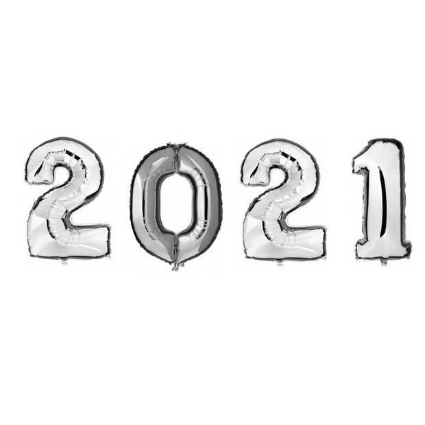 2021 folie ballonnen - zilver - 100 cm - Oud en nieuw versiering / Nieuwjaar