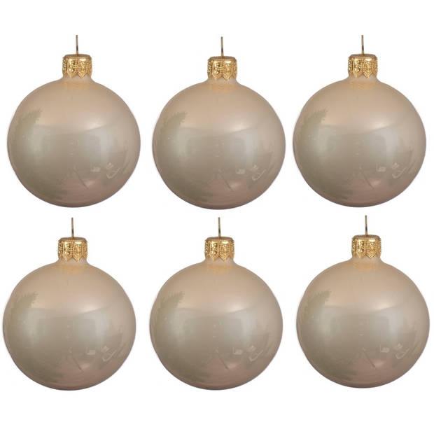 6x Licht parel/champagne glazen kerstballen 6 cm - Glans/glanzende - Kerstboomversiering licht parel/champagne