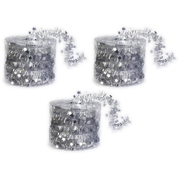 3x Dunne kerstslingers zilver 3,5 x 700 cm - Guirlandes folie lametta - Zilveren kerstboom versieringen