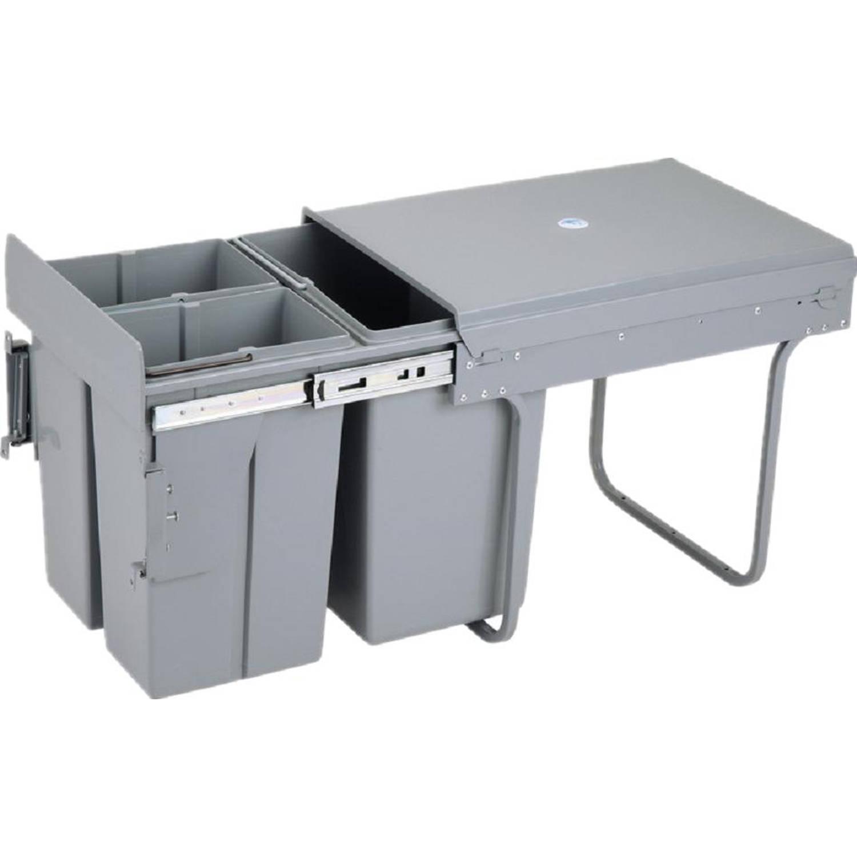 4cookz Trio inbouw afvalscheidingsprullenbak - 2x 10 en 1x 20 liter voor kastjes van 40 cm breed of